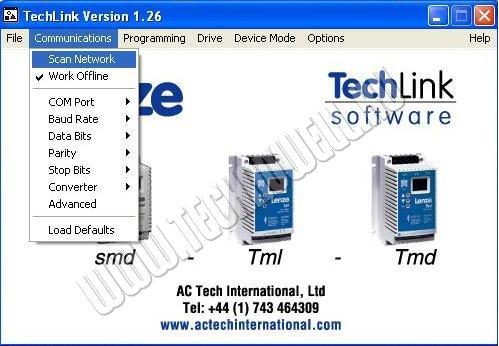 Запуск программы для управления частотным приводом Techlink