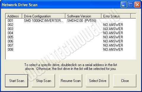 Программа Techlink сканирует COM порты - поиск преобразователей частоты