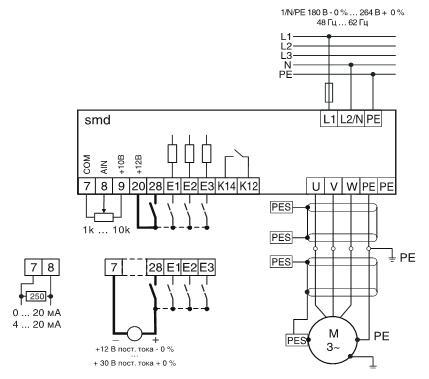 Схема подключения частотного преобразователя Lenze ESMD152X2SFA