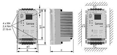 Размеры Преобразователя частоты Lenze ESMD152X2SFA