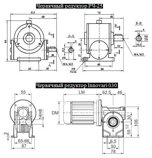 Редуктор РЧ-25 и РЧ-25М и его аналог червячный мотор-редуктор 030