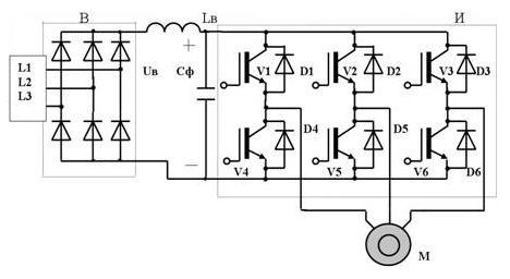 Рис.4. Схема преобразователя частоты (инвертора)