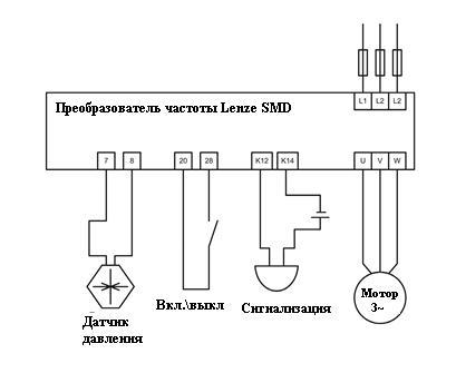 Схема подключения частотного преобразователя Lenze SMD